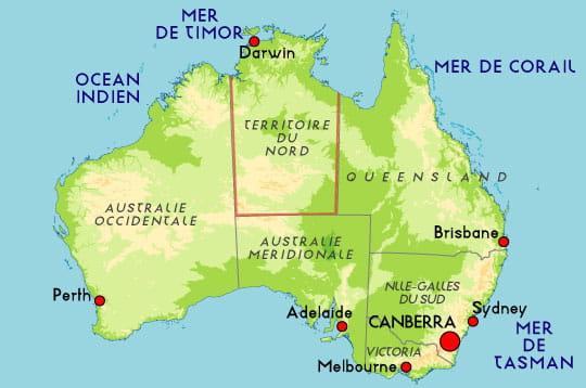 Carte de l'Australie : Sublime Australie : la nature à l'état pur ... CARTES DE L'AUSTRALIE
