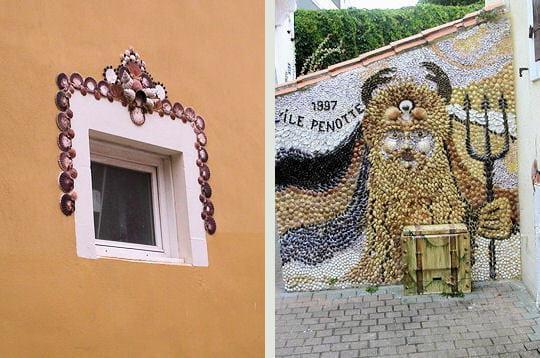 les fresques de 'la dame aux coquillages' abordent des thèmes marins. a droite,