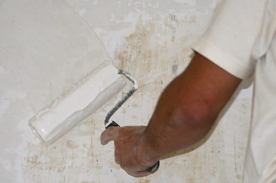 Encoller la surface poser de la toile de verre linternaute for Toile de verre salle de bain