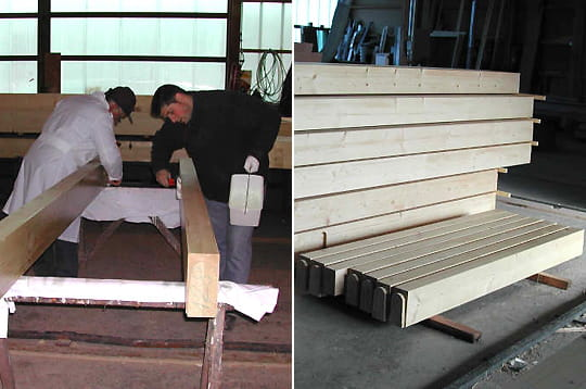 lasurer les poutres comment fr d ric a construit sa maison en bois linternaute. Black Bedroom Furniture Sets. Home Design Ideas
