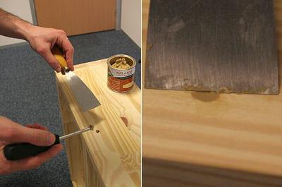 boucher les trous fabriquer une tag re sur mesure linternaute. Black Bedroom Furniture Sets. Home Design Ideas