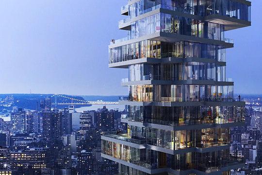 Une pile d 39 appartements en quilibre pour un gratte ciel for Architecture equilibre