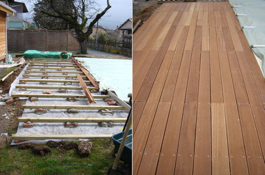 Terrasse bois autour dune piscine octogonale for Construction piscine en bois