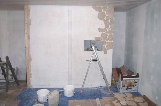 Réalisation du parement en pierre