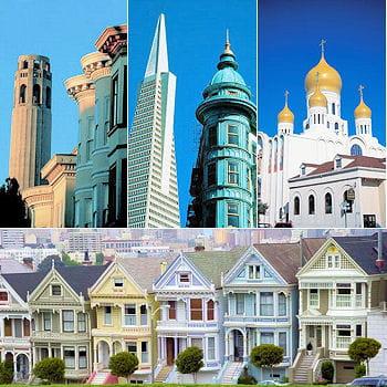 de gauche à droite : la coit tower, la transamérica pyramid, l'église de la