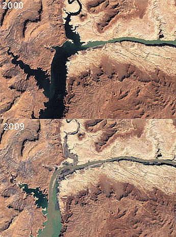 la sécheresse a eu des effets dévastateurs sur le niveau des eaux du lac powell