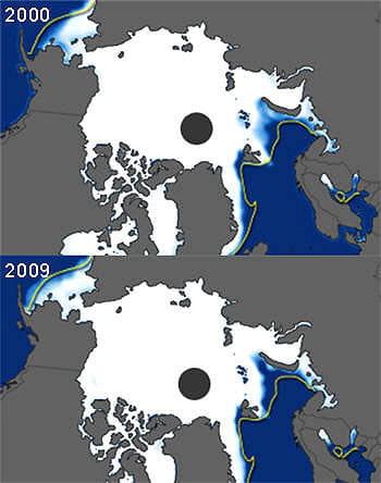 les glaces arctiques subissent le même sort que celles de l'antarctique et