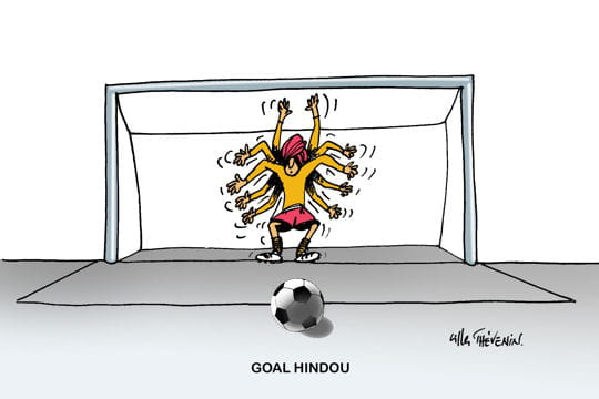 Gardien de but hindou dessins humoristiques de foot - Dessin gardien de but ...