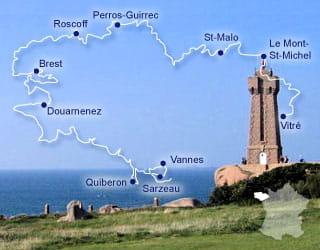 le gr 34 longe les côtes bretonnes, du golfe du morbihan au sud jusqu'au mont