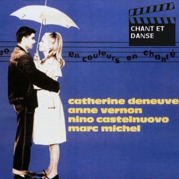 extrait de l'affiche des 'parapluies de cherbourg' de jacques demy