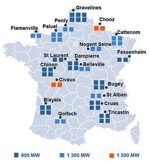 les centrales nucléaires se trouvent postées près des grands fleuves français