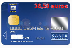 20 ex aequo la banque postale avec une carte bleue visa ou mastercard 36 50 euros par an. Black Bedroom Furniture Sets. Home Design Ideas