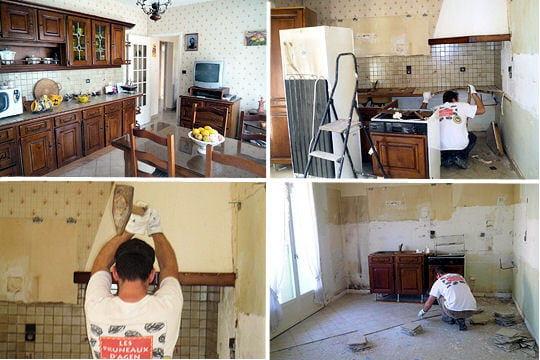 destruction compl te de l 39 ancienne cuisine r novation compl te d 39 une maison de plain pied. Black Bedroom Furniture Sets. Home Design Ideas